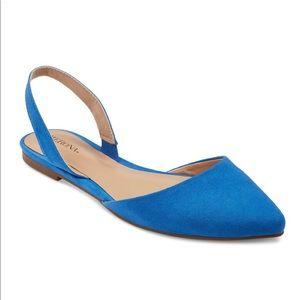 Merona Kathy Pointed Toe Slingback Flats Blue 9.5